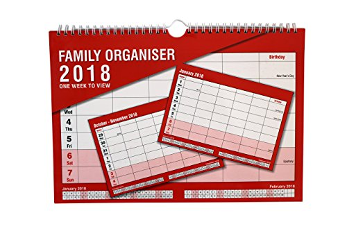 2018 Family Organiser Calendar - One Week to View Planner - Space For up to 5 People by Arpan (2018 - Black & Red)