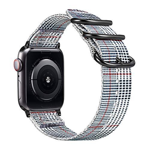 FINTIE Cinturino per Apple Watch 40mm 38mm, Nylon Tessuto Sport Regolabile Band con Fibbia Metallica Cinturini di Ricambio...