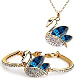 #6: Valentine Gifts : YouBella Jewellery Valentine Collection Crystal Combo of Pendant Necklace Set and Bangle Bracelet for Girls and Women