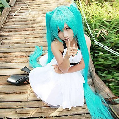 HJL-lange gerade Perücken 120cm light blue anime cosplay Perücken Hatsune Miku , green