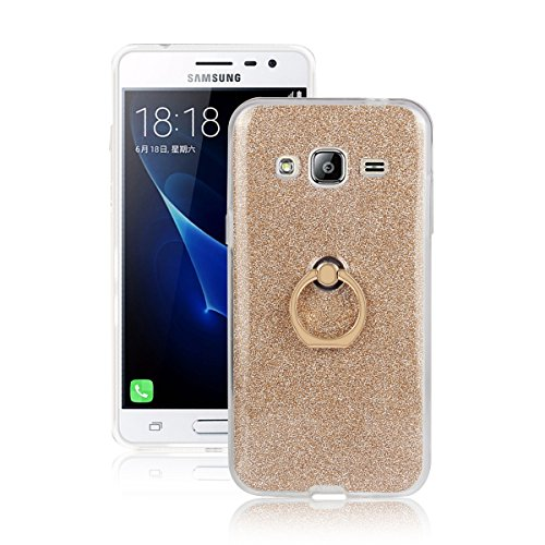 Skitic Bling Glitter Sticker Pellicola Custodia per Samsung Galaxy J3 (2016), Lusso Ultra Sottile Morbido TPU Bumper Brillare Posteriore Protettiva Case Cover con 360 Degree Rotating Metallo Ring Stand Holder - Oro