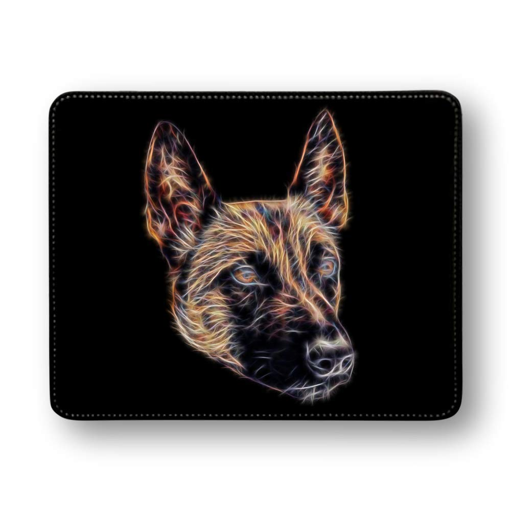 Fractal Artworks Belgian Shepherd Mouse Pad with Soft PU Leather, Belgian Malinois
