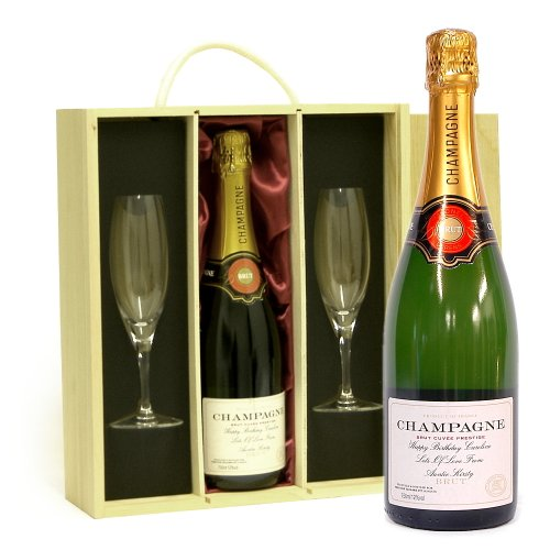 PERSONALISED Fine Champagne 750ml in a Wooden Gift Box with 2 x Champagne Flutes & Satin Insert ADD YOUR OWN MESSAGE & NAME TO THE WINE LABEL