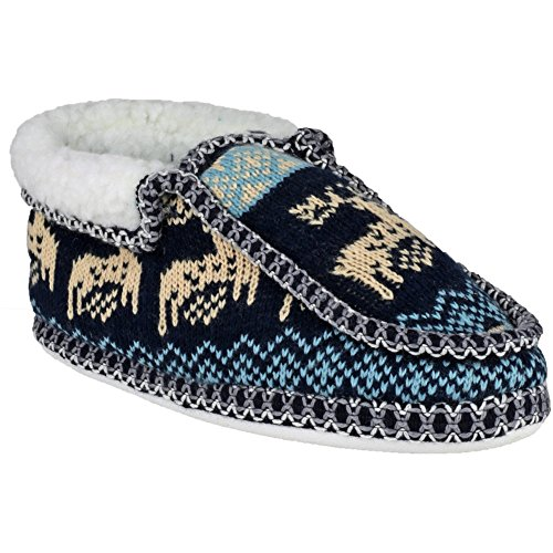 Divaz Ladies Norway Loose Slip On Stitch Detail Fleece Slipper Brown
