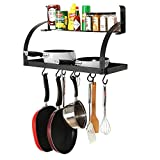 #10: INDIAN Sterline Kitchen Wall Mount Metal Grid 2 Tier with 8 Hanging Hooks for Pots & Pan, Spice Rack and Storage Shelf