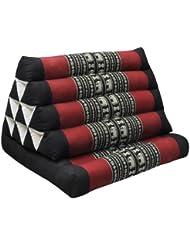 Colchón tailandés plegable con cojín triángulo, fabricado en Tailandia, Negro/rojo (81601)