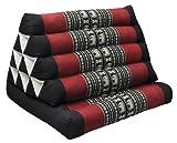 Coussin Thai triangulaire, avec assise 1 pli, Noir/rouge (81601)