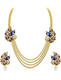 Zeneme Gold Plated Multistrand Necklace With Earring Set Jewellery For Women And Girls