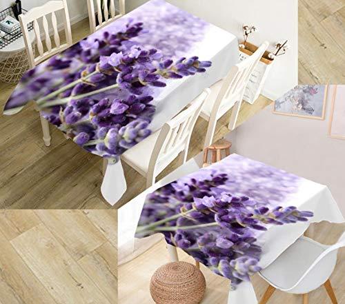 Lavendel Staub (JHSH Tischdecke Polyester Rechteckig Lavendel Outdoor Garten Staub Dekoration Grünes Tuch EIN Stück130x220cm)