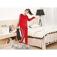 YTNGA Pijamas De Mujer Conjuntos depijamasgruesos de Invierno para mujeresPijama Ropa de Dormir TrajeRopa de casa, Rojo, XL