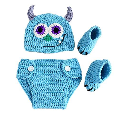 Neugeborenes Baby Fotografie Requisiten Outfits Kleidung Nette Cowboy Crochet Gestrickte Wollmütze Monster Hosen mit Socken Kostüm Body Wrap