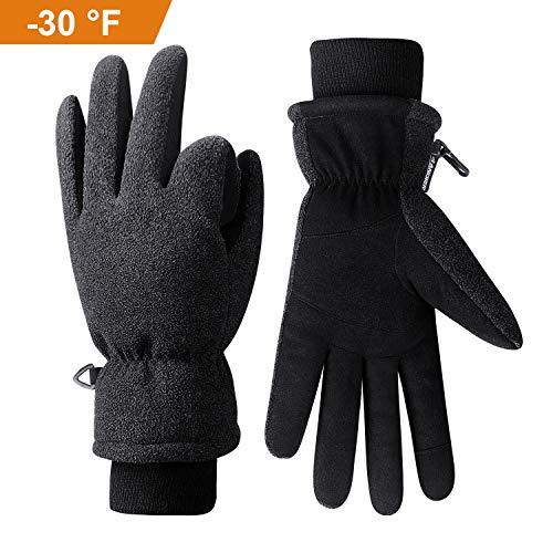 coskefy Winterhandschuhe Herren Damen Touchscreen Fahrradhandschuhe Gefüttert Kälteschutz mit 3M Thinsulate Insulation Skihandschuhe Schnee Thermisch Outdoor Sport Handschuhe(Schwarz-3,M)