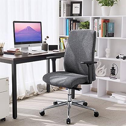 SONGMICS Silla giratoria de Oficina Altura Ajustable Diseño ergonómico con Respaldo de Altura Media Adaptable al Peso Corporal Gris OBG42G