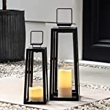 Lights4fun - Set di 2 Lanterne in Metallo Nero con Candele LED a Pile per Interni ed Esterni