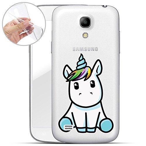Finoo | Samsung Galaxy S4 Mini Weiche Flexible Silikon-Handy-Hülle | Transparente TPU Cover Schale mit Motiv | Tasche Case Etui mit Ultra Slim Rundum-Schutz | Einhorn - Zucker Schale Crystal