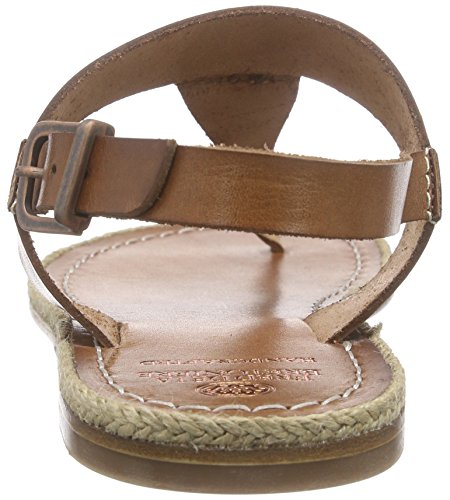 Fred de la Bretoniere Damen Tstrap Sandalet Lloret Flat T-Spange Braun (Ambra)