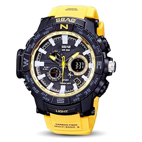 ODJOY-Fan Herren Uhr Digital Digitales Quarzwerk mit Silikon Armband S-8006-1 (Glod,1 PC)