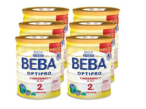 Nestlé BEBA OPTIPRO Kindermilch ab dem 2. Geburtstag, Pulver, wiederverschließbar mit praktischer Löffelablage, 800 g Dose, 6er Pack (6 x 800 g)