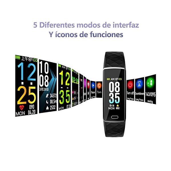 LOZAYI Pulsera de Actividad, Pulsera Actividad Inteligente, IP67, Reloj Inteligente para Mujer y Hombre, con Pulsómetro… 2