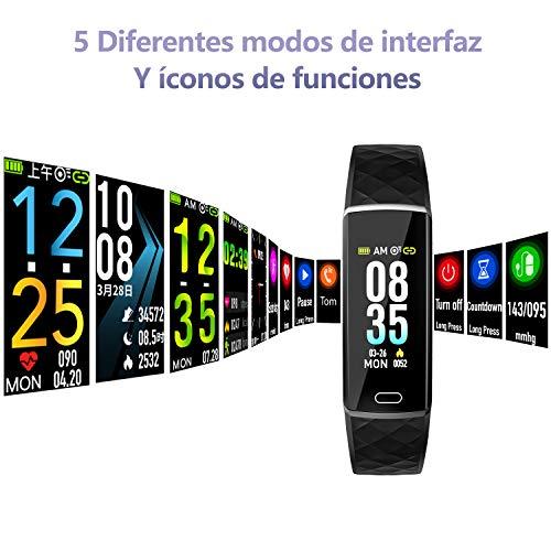 Pulsera de Actividad,  LOZAYI Pulsera Actividad Inteligente,  IP67,  Pulsera Deportiva para Mujer y Hombre,  con Pulsómetro,  Blood Pressure,  Monitor de Sueño,  Podómetro,  para Android y iOS Teléfono Móvil