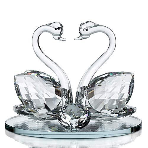 Homespired decorativo in vetro cristallo animale cavallo a forma di cigno con cristalli swarovski elements regalo-diversi motivi ornamentali-perfetto per ogni occasione, swan
