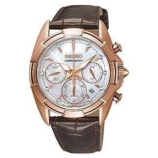 Seiko-Damen-Chronograph-Quarz-Uhr-mit-Leder-Armband-SRW784P1