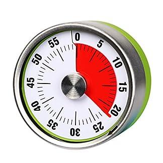 AIMILAR – Temporizador de cocina mecánico pequeño, temporizador de cuenta regresiva visual de 60 minutos magnético con alarma fuerte para niños y adultos para cocinar al vapor verde