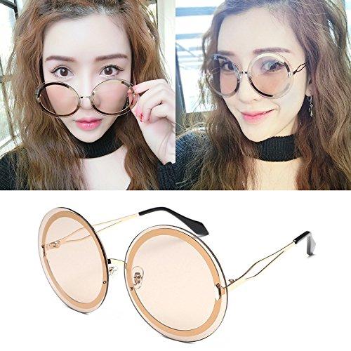 Sunyan Dame neue Sonnenbrillen Sonnenbrillen Männer Korea metal star Trendsetter3335 tide Persönlichkeit, Golden Tee gerahmt - Sonnenbrillen Männer Korea