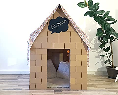 Build Amazing house from giant building blocks with NEW interlocking system, exciting gift for boys and girls. (bright roof)