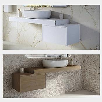Lavabo Sospeso In Marmoresina Antracite Bugnato Top Integrato Pietra Arredo Bagno Cm 100 x 50 Yellowshop