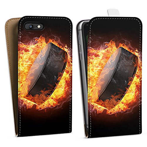 Apple iPhone 5s Silikon Hülle Case Schutzhülle Eishockey Flammen Slapshot Downflip Tasche weiß