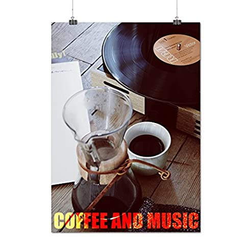 Hot Coffee And Music Gramophone Matte/Glossy Poster A3 (42cm x 30cm) | Wellcoda