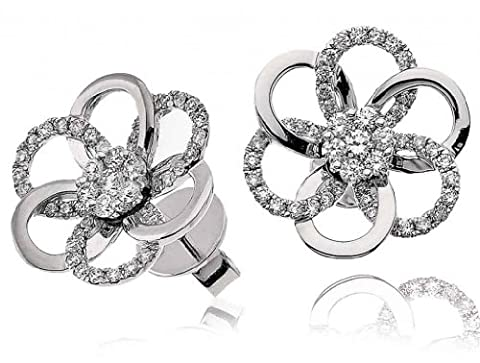 0.75CT Certified G/VS2 Cluster Flower Shape Diamond Stud Earrings in 18K White Gold