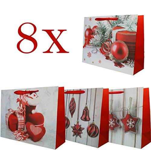 Hochwertige Weihnachtstasche -8 Stück- Geschenktüte Weihnachtstüte im 4 Design. Papiertüte Präsenttüte Geschenktasche für Weihnachten von Jonami Lebensmittel Körbe Für Den Urlaub