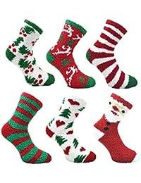 Ladies 6 pack Fluffy Christmas Co-Zees Socks