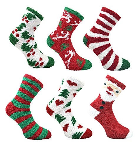 Damen 6 pack Fluffy Weihnachts Co-Zees Socken mit Geschenk-Bogen