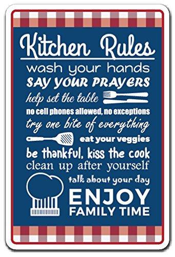 Sinluen Lustiges Schild Geschenk Küche Regeln Küche Home Rules Family Food Clean Cook Outdoor Metall Aluminium Schild Wandschild Dekoration