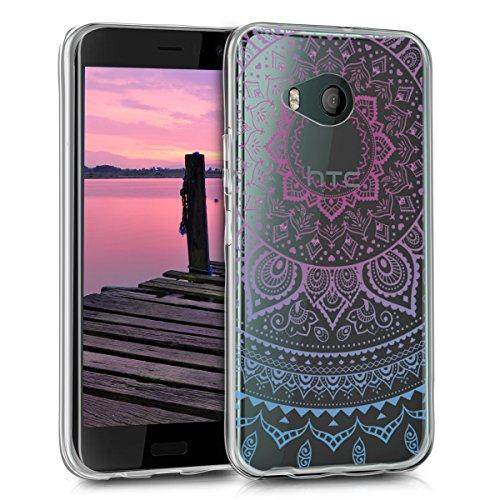 kwmobile HTC U11 Life Hülle - Handyhülle für HTC U11 Life - Handy Case in Blau Pink Transparent