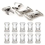 Klickverschluss aus Metall im 10er Set, 5/8'' Klippverschluss/Steckschließer/Steckverschluss für Paracord-Armbänder, Hunde-Halsbänder, Rucksack, Farbe: silber