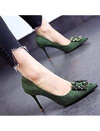 FLYRCX Primavera y otoño europeo de calidad superior de gamuza, zapatos de tacón delgado sexy moda personalidad...