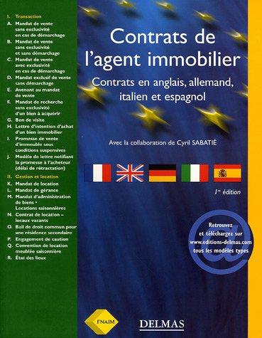Contrats de l'agent immobilier : Français, anglais, allemand, italien, espagnol par FNAIM