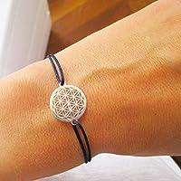 AQUAGEMS Armband mit Blume des Lebens 925er Sterlingsilber | Lebensblume Damen Schmuck | Marineblau Dunkelblau