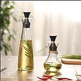 Xizi Glasflasche Olivenöl Spender & Essig Spender Öl Essig Cruet Edelstahl Pourer Auslauf 10 Unzen