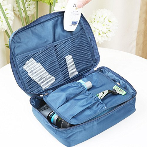 (21x16x8 cms) MEN's Washing Toiletries shaving shampoo kit brush toothpaste brush cream towel Unisex travel organizer bathroom and mobile charger items storage bag makeup waterproof multi pouch Travel Cosmetic Holder Beauty Wash Purse Monopoly Pouch