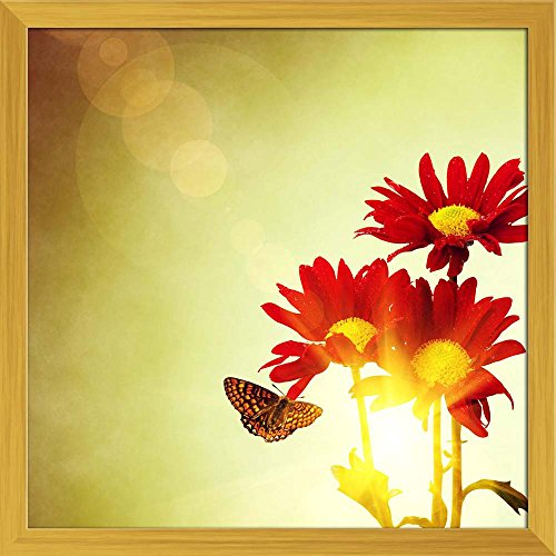 ArtzFolio Red Flowers & Butterfly Under Bright Sunny Sky Canvas Painting Golden Wood Frame 24 X 24Inch -