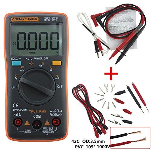 UEETEK Multímetro Digital Autorango Automático Voltímetro AC DC Amperímetro Ohmímetro Tester con Retroiluminación LCD 6000 Counts (Naranja)