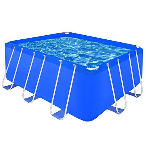 Piscine rectangulaire avec cadre en acier