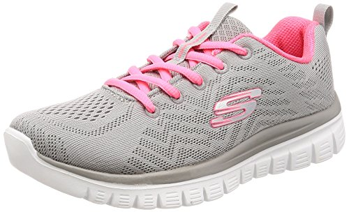 Skechers Women 12615 Low-Top Trainers, Grey (Gray Mesh/Coral Trim Gycl), 5 UK (38 EU)