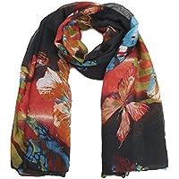 Fiori e farfalle nero/arancione lunga sciarpa We All Love una farfalla Stampa.