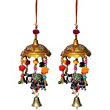 Door Hanging Umbrella With Elephant Painted And Metal Bell Set Of 2 By Handicrafts Paradise